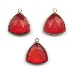 Zawieszka kryształek trójkątny czerwony w oprawie kol. złotego 20x16mm