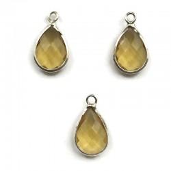 Zawieszka kryształek kropla żółty w oprawie kol. srebrnym 18x10mm