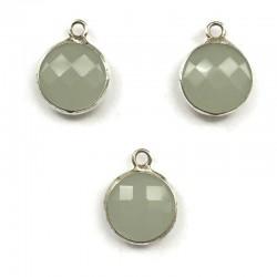 Zawieszka kryształek okrągła zielona w oprawie kol. srebrnym 15x10mm