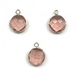 Zawieszka kryształek okrągła różowa w oprawie kol. srebrnym 15x10mm