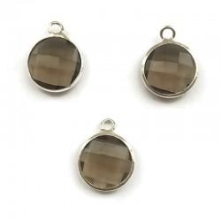 Zawieszka kryształek okrągła szary w oprawie kol. srebrnym 15x10mm