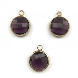 Zawieszka kryształek okrągła ciemno fioletowa w oprawie kol. złotym 15x10mm