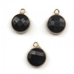 Zawieszka kryształek okrągła czarna w oprawie kol. złotym 15x10mm