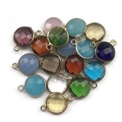 Zestaw zawieszek kryształki w oprawie, mix kolorów 17szt 15x10mm