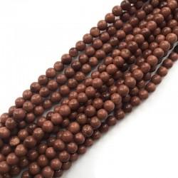 Piasek Pustyni kulka gładka 6mm sznurek brąz