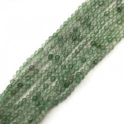 Kwarc kulka fasetowana 3mm zielony znurek