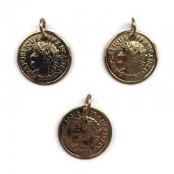 Zawieszka Moneta 20x1mm stal nierdzewna złota