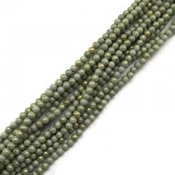 Jadeit zielony ze złotym kulka 4mm gładka