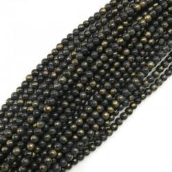 Jadeit szary ze złotym kulka 6mm gładka
