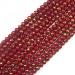 Jadeit czerwony ze złotym kulka 8mm gładka
