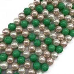 Perła majorka kulka gładka 10mm zielony-beż-biały