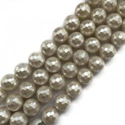 Perła majorka kulka fasetowana 14mm perłowy