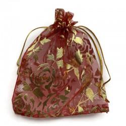 Woreczek z organzy w róże, w kolorze czerwonym 12x10cm