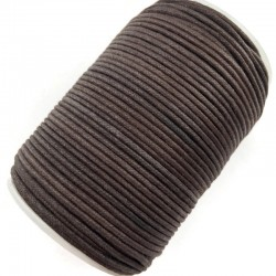 Indyjski Sznurek bawełniany woskowany 2mm - ciemny brąz
