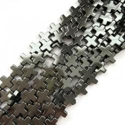 Hematyt krzyżyk gładki 12x12mm sznurek czarny