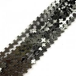 Hematyt krzyżyk gładki 6x6mm sznurek czarny