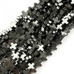Hematyt krzyżyk gładki 10x10mm sznurek czarny