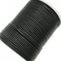 Rzemień skórzany naturalny okrągły 3mm czarny