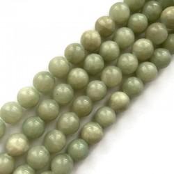 Jadeit kulka gładka 10mm zielono-szary