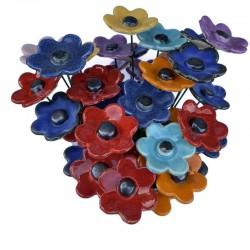 Bukiet ceramicznych kwiatów z płatkami, mix kolorów