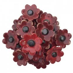 Bukiet ceramicznych kwiatów z płatkami, kolor czerwony