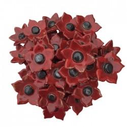Bukiet ceramicznych kwiatów z płatkami, kolor czerwony, model 2
