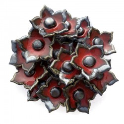 Bukiet ceramicznych kwiatów z płatkami, kolor czerwony z ciemnym brzegiem, model 2