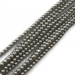 Perełki szklane kulka 4mm srebrny sznurek 80 cm