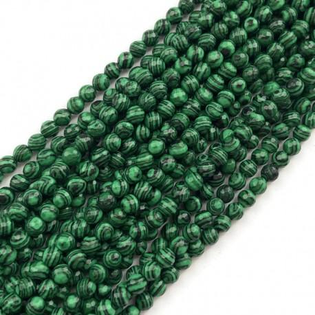 Malachit kulka fasetowana 6mm zielony sznurek
