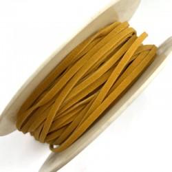 Rzemień płaski welurowy 3x1,5mm - Ciemno żółty 1 metr