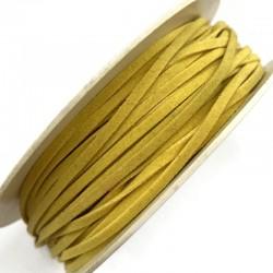 Rzemień płaski welurowy 3x1,5mm - żółty 1 metr