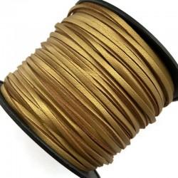 Rzemień płaski welurowy 3x1,5mm - złoty 1 metr