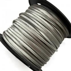 Rzemień płaski welurowy 3x1,5mm - srebrny 1 metr
