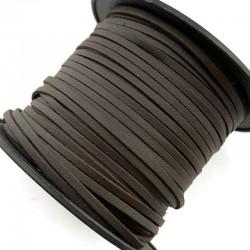 Rzemień płaski welurowy 3x1,5mm - ciemny brąz 1 metr
