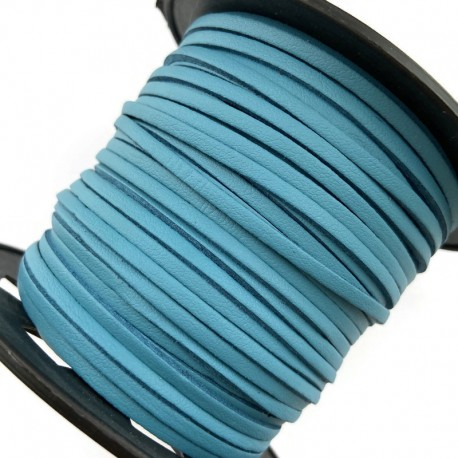 Rzemień płaski welurowy 3x1,5mm - niebieski 1 metr