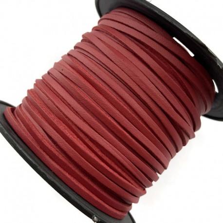 Rzemień płaski welurowy 3x1,5mm - ciemno czerwony 1 metr