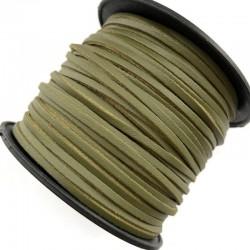 Rzemień płaski welurowy 3x1,5mm - oliwka 1 metr