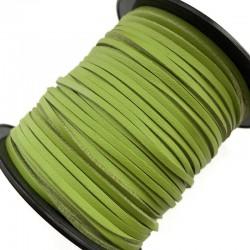 Rzemień płaski welurowy 3x1,5mm - zielony 1 metr