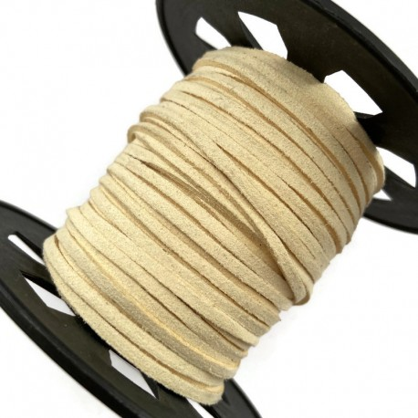 Rzemień płaski welurowy 3x1,5mm - ecru 1 metr