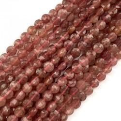 Kwarc różowy pastylka fasetowana 6x4-4,5mm