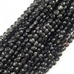 Agat czarny pastylka fasetowana 4~4.5x2.5~3 mm