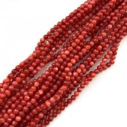 Muszla naturalna kulka gładka 4mm czerwona