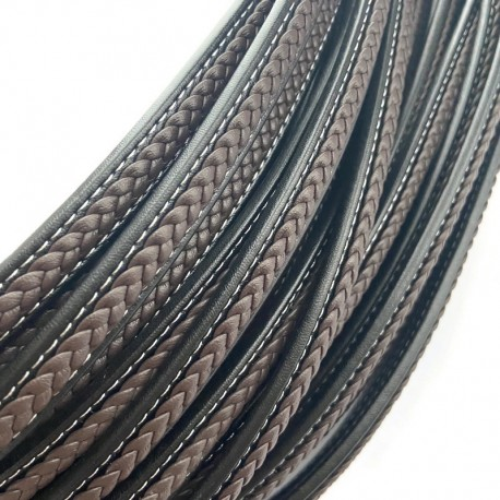 Rzemień naturalny płaski 12x7mm czarno-brązowy