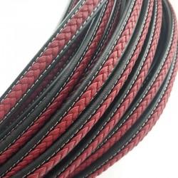 Rzemień naturalny płaski 12x7mm czarno-czerwony