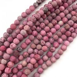 Agat kulka 8mm różowy sznurek