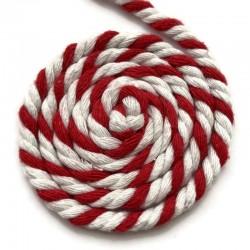 Sznurek sznur lina skręcana bawełna 6mm Czerwony mix