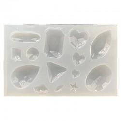 Forma do żywicy forma silikonowa do odlewów 62x98x7mm kaboszony mix