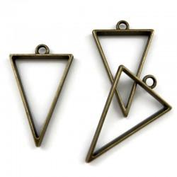 Zawieszka, Baza do żywicy 39x25mm trójkąt stare złoto