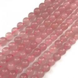 Kwarc różowy kulka gładka 10mm sznurek