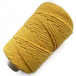 Sznurek Bawełniany Skręcany Makrama 3mm-200 metrów Żółty